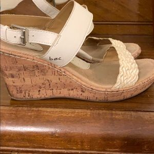 Sz 10 cork wedges with white straps